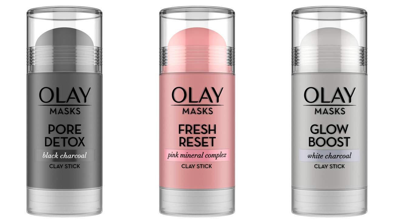 Face Masks by Olay, Clay Facial Mask Stick With Pink Mineral Complex, Fresh Reset, Glow Boost White Charcoal and Pore Detox Black Charcoal, 1.7 Oz