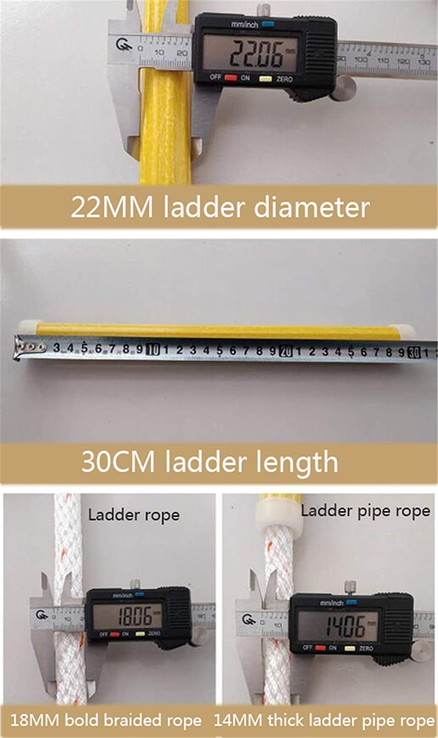 Flame Resistant Emergency Fire Safety Evacuation Ladder with Hook Carabins for Kids And Adults JHKGY Fire Escape Rope Ladder Multi-Floor Fire Rescue Ladder,2m