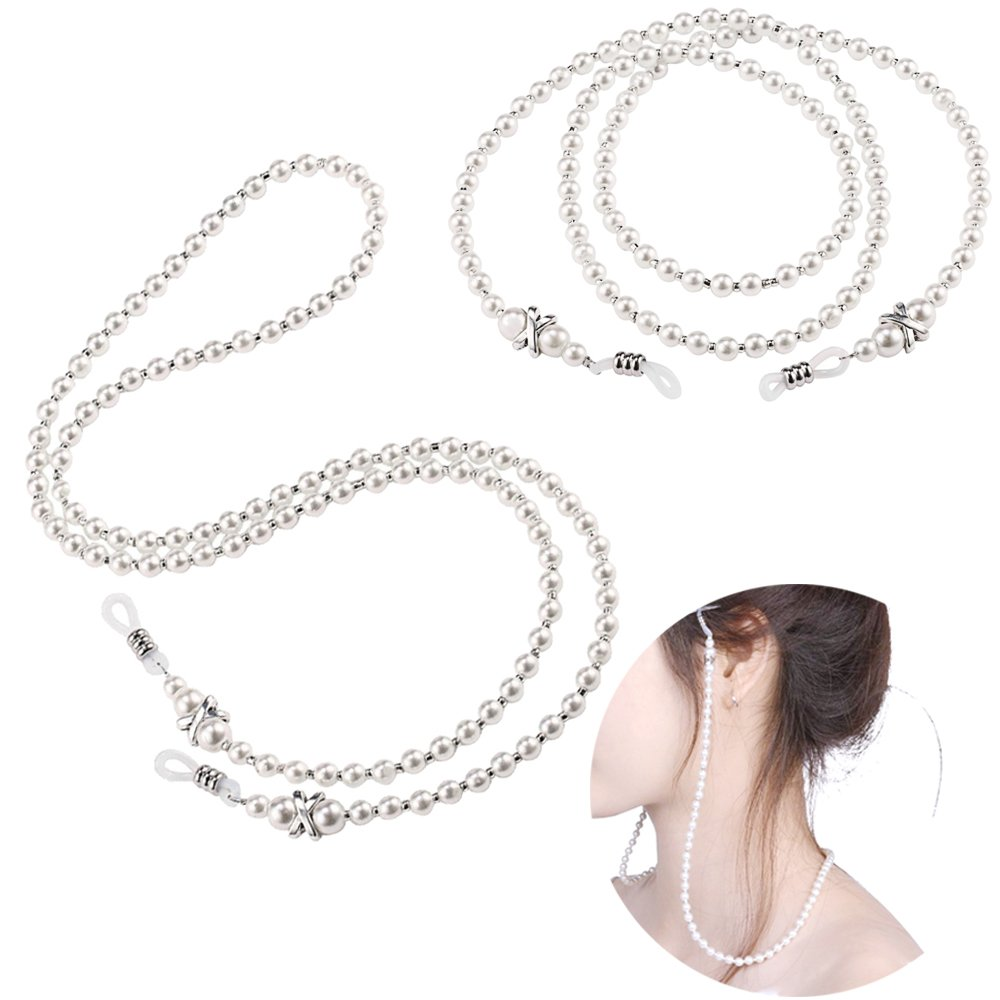 2 pcs Eyeglass Chain Small White Beaded Glasses Necklace Strap with Holder for Women