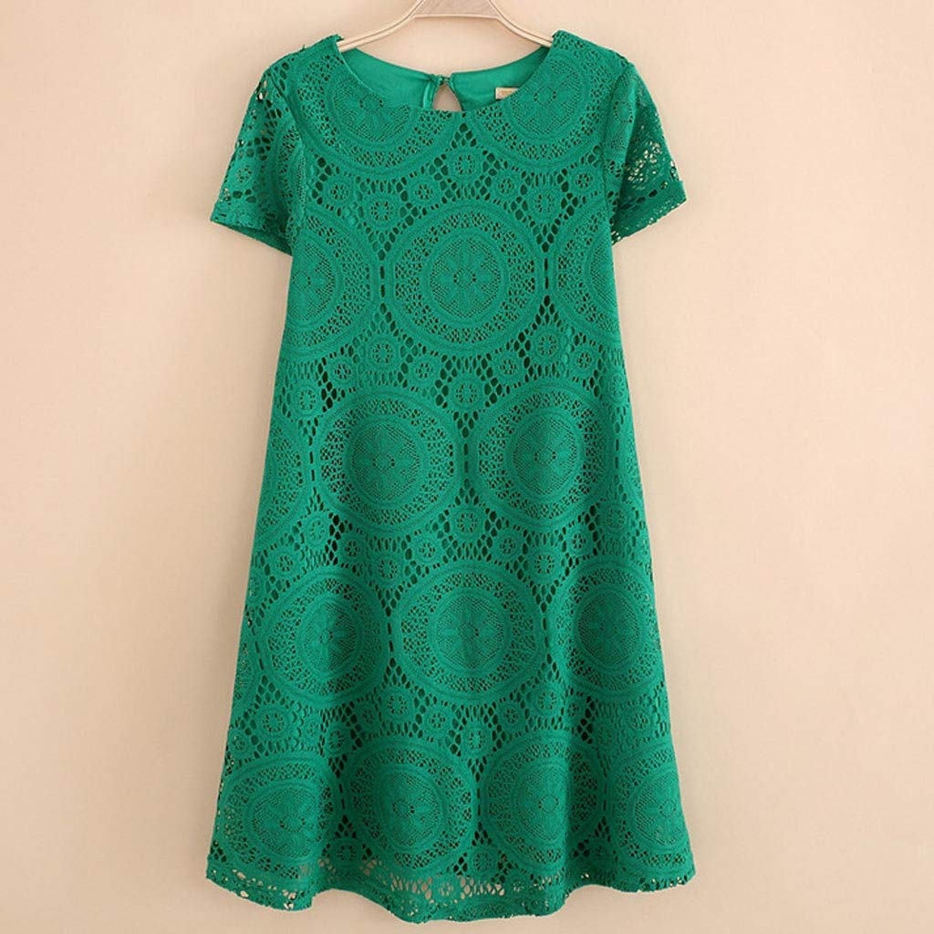 Kiminana Fashion Sexy Plus Size Solid Color Short-Sleeved Round-Neck lace Openwork Dress Green by Kiminana (Image #4)