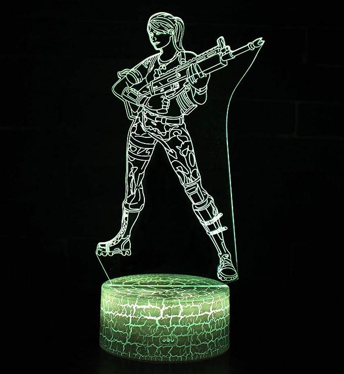 3D Lampe Illusion Optique LED Veilleuse, CKW 7 Couleurs Tactile Lampe de Chevet Chambre Table Art Déco Enfant Lumière de Nuit avec Câble USB Nouveauté