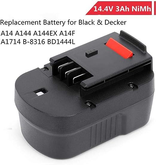 A14 A144EX POWERGIANT 14.4V 3000mAh NiMh Bater/ía de Repuesto para Black /& Decker A14 A144EX A14F A1714 B-8316 BD1444L BPT1048 HPB14 Firestorm FS140BX FSB14 FS14PSK