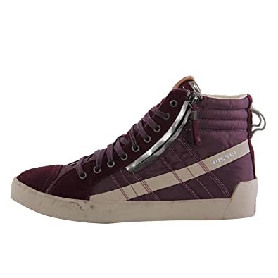 1f56000328b3 DIESEL Herren Teil Leder High Sneaker Schuhe D-String Plus Purple G01169  Größe 43