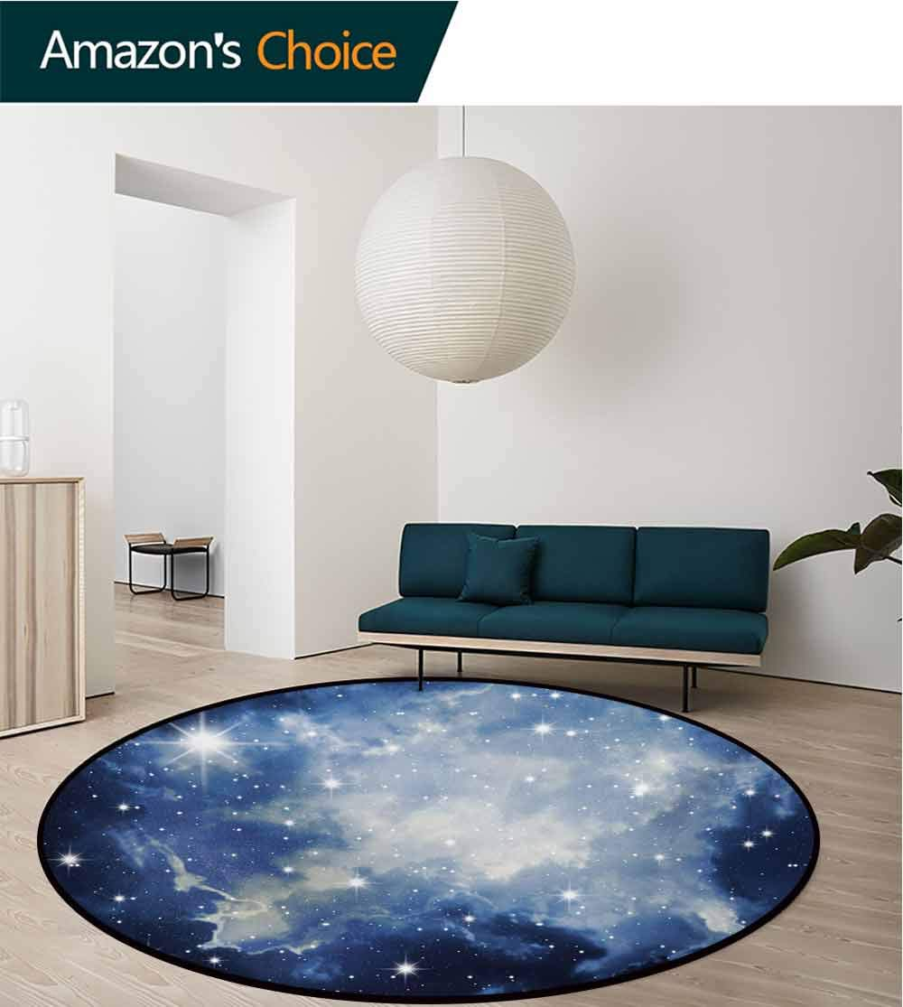 Constellation Machine Washable Round Bath Mat,Blue Galaxies In Night Sky Celestial Image Stars Fog Magical Non-Slip No-Shedding Bedroom Soft Floor Mat,Diameter-71 Inch Dark Blue Pale Blue White by RUGSMAT (Image #2)