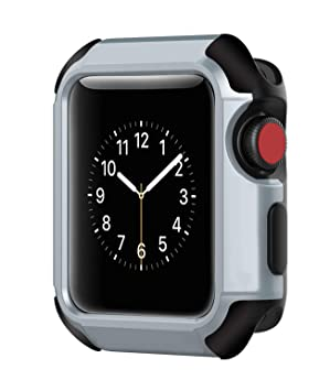 Voken Apple Watch Funda 38mm,TPU Suave Cubierta Parachoques Protectora Carcasa para Apple iWatch Series 3/Series 2/Series 1 (38mm, Negro/Silver)