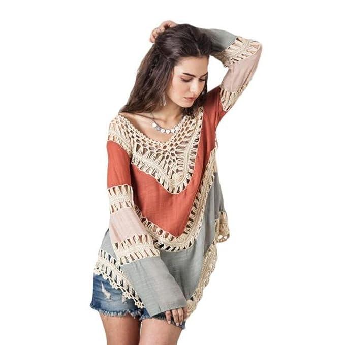 ddf7ddcdec Umgee Women s Crochet Lace Fringe Boho Bohemian Blouse Top Frayed Blouse Red  Onesize