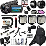 Sony FDR-AX53 4K Ultra HD Handycam Camcorder Video Camera + Action Handle + LED Lights + Mic + Bag + Monopod Extra Memory + Flexi Tripod + Cleaning Set + Action Accessory Bundle Kit