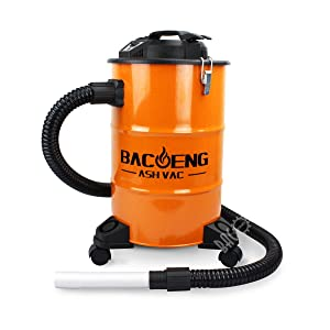 BACOENG 5.3-Gallon Ash Vacuum Cleaner with Double Stage Filtration System. Standard Ash Vac