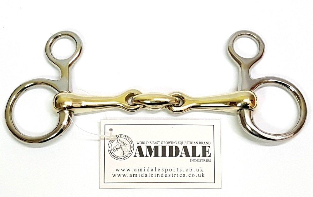 4.50 STEEL COPPER MIX AMIDLAE BNWT Amidale HANGING CHEEK LOZENGE BAUCHER HORSE BIT S