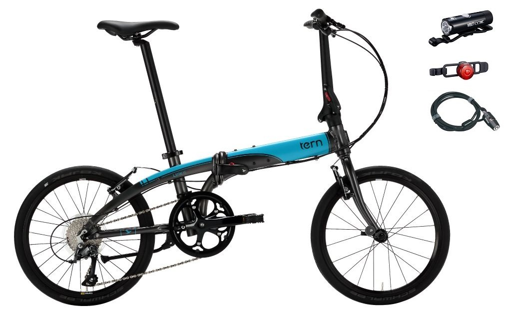 2018年モデル Tern(ターン) Link N8(リンク N8) 20インチ折り畳み自転車 +フロントライト、テールライト、ロングワイヤー錠 B0745BLWBZマットガンメタル/ライトブルー