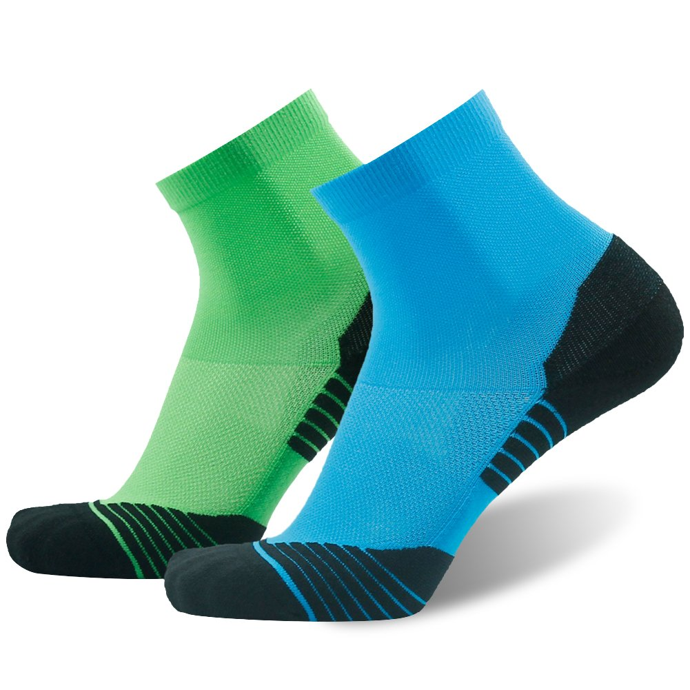 Tennis Socks Padded HUSO Anti-blister Wick Ankle Cycling Socks for Men 2 Pairs (Green&Blue, L/XL)