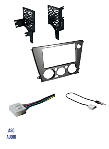 ASC Audio Car Stereo Radio Install Dash Kit, Wire Harness, and Antenna Adapter to Add A Double Din Aftermarket Radio for 2005 2006 2007 2008 2009 Subaru Legacy + Outback with Manual Climate Control