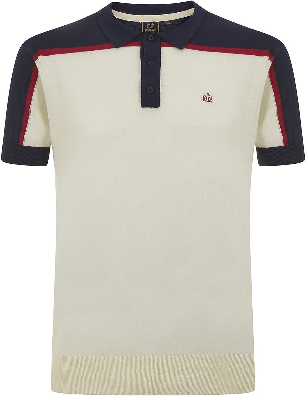 Merc of London Harum, Col Blok Knit Polo, Blanco (Vintage White ...