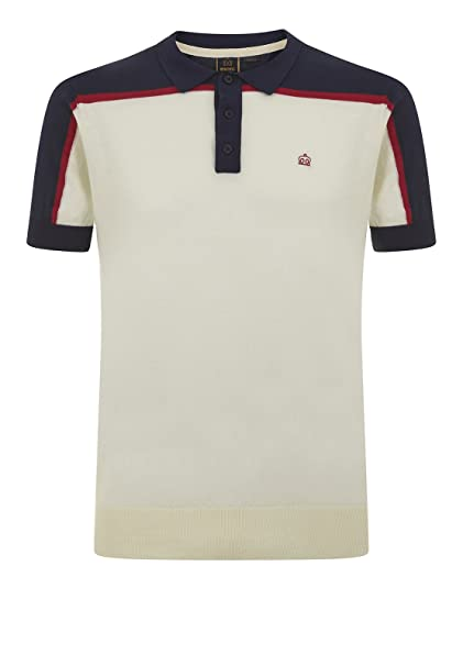 Merc of London Harum, Col Blok Knit Polo, Blanco (Vintage White ...