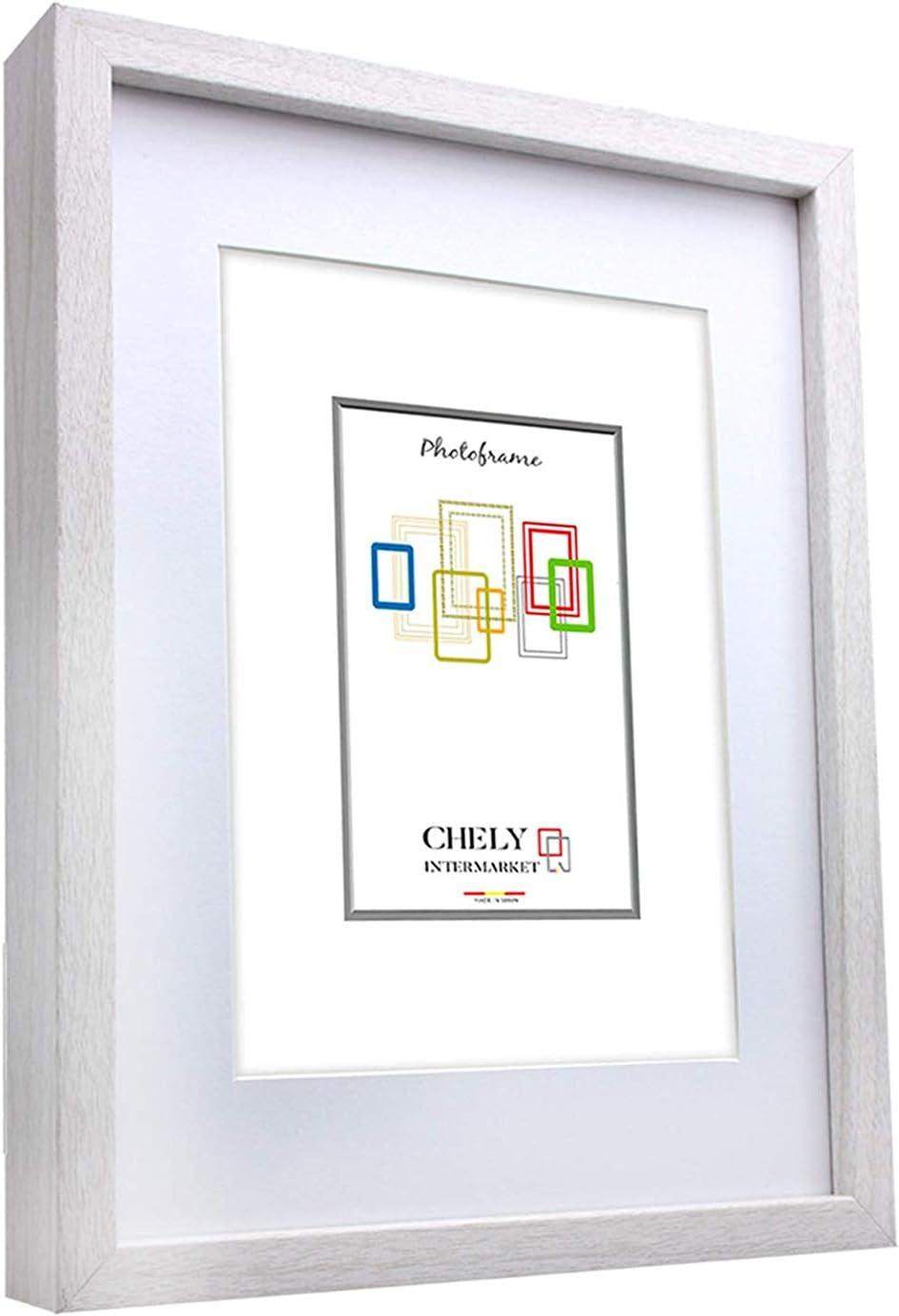 Chely Intermarket, Marco de Fotos 40x50cm (Medida Interior con paspartú 30x40cm) MOD-351 (Blanco) | El Marco Queda al Nivel de la Pared, diseño Elegante (351-40x50-2,25)