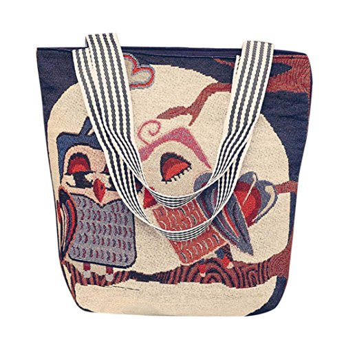 BURFLY? Women Girls Men Unisex Canvas Cartoon Tote Bags, Lovely Owl Handbag Shoulder Messenger Bag for Women Men Unisex Ladies Fashion Weekend Shopping School Satchel Bags Large Bags H
