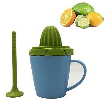 3 en 1 limón Exprimidor, Verde Exprimidor Manual multifunción Duraneo mano prensa exprimidor con taza exprimidor molinillo y prensador de mano - azul: ...