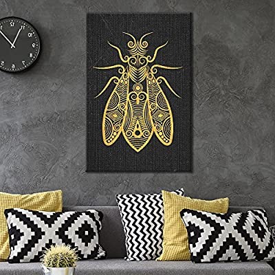 Canvas Wall Art - Golden Insect Pattern on Black Background - Giclee Print Gallery Wrap Modern Home Art Ready to Hang - 12x18 inches