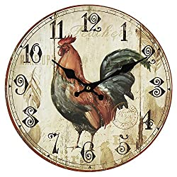 Classic Rooster MDF Round Wall Clock by Haysom Interiors
