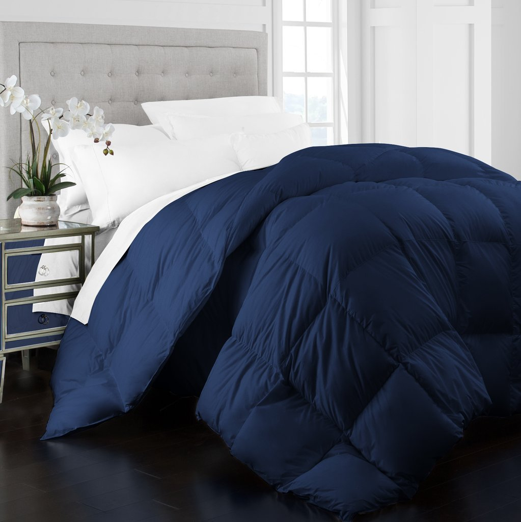Beckham Hotel Collection 1400 Series Egyptian Quality Cotton Goose Down Alternative Comforter - 750 Fill Power - Premium Hypoallergenic All Season Duvet - Full/Queen - Navy