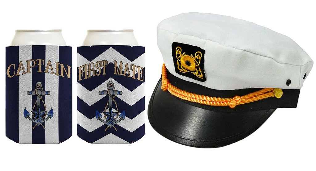 Captain Cap Yacht Hat Funny Beer Coolie Captain and First Mate Chevron Can Coolie Bundle Navy Stripe by ThisWear