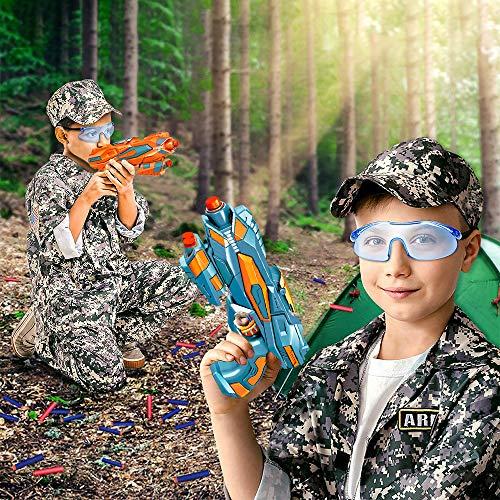 2 Pcs Pistola de Juguete Niños, Pistola Bláster con 60 Flechas/Balas + 2 Gafas Protectoras, Pistola de Dardos Espuma Infantil, Juegos Tiro Pistola de Ninos, Regalo de Cumpleaños Niños Niñas 3-10 Años