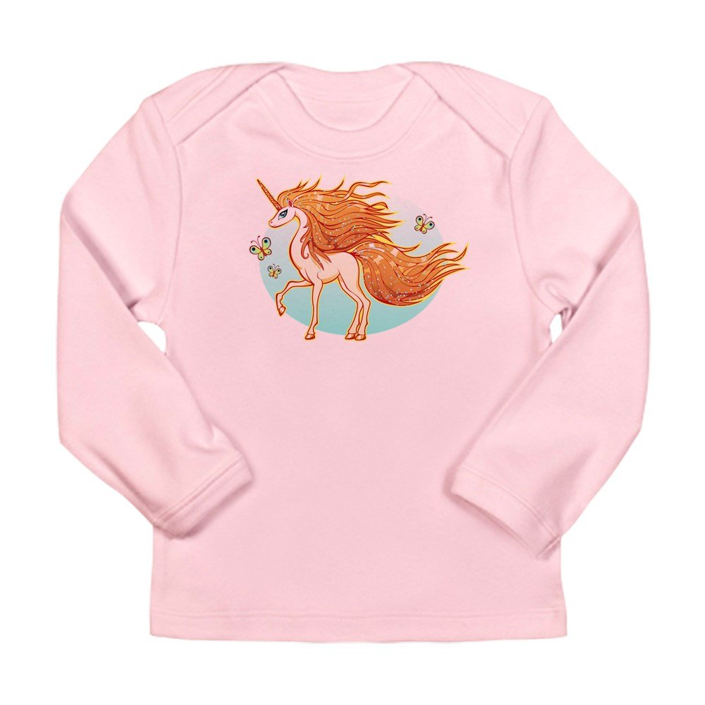 Petal Pink Truly Teague Long Sleeve Infant T-Shirt Golden Sparkle Unicorn With Butterflies 12 To 18 Months
