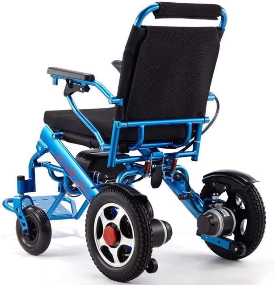 Cestbon Silla de Ruedas eléctrica Plegable con el polímero de Ion-Litio, para Personas Mayores y discapacitados,Azul