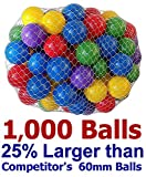 Pack of 1000 Large 2.5' 65mm Ball Pit Balls - 5 Bright Colors; Crush-Proof Air-Filled; Phthalate Free; BPA Free; Non-Toxic; Non-PVC; Non-Recycled Plastic( 25% Larger Than 2.3' 60mm Balls )