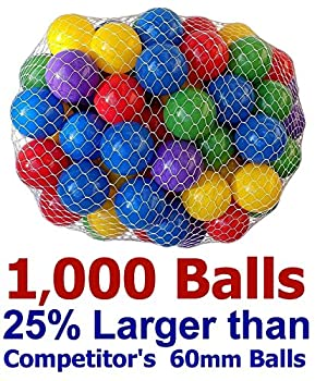 "My Balls By Cms Pack Of 1000 2.5"" 65mm Ball Pit Balls In 5 Bright Colors - Crush-proof Air-filled Soft Plastic, Phthalate & Bpa Free 0"