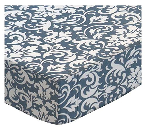 SheetWorld Extra Deep Fitted Portable Mini Crib Sheet - Grey Damask - Made In USA by SHEETWORLD.COM
