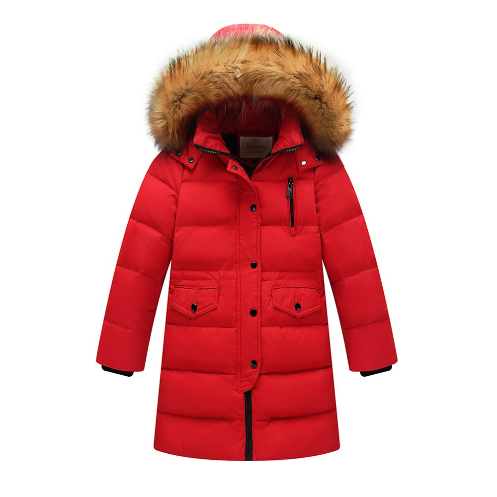 Evelin LEE Unisex Kids Baby Boys Girls Winter Hooded Fur Down Parka Coat