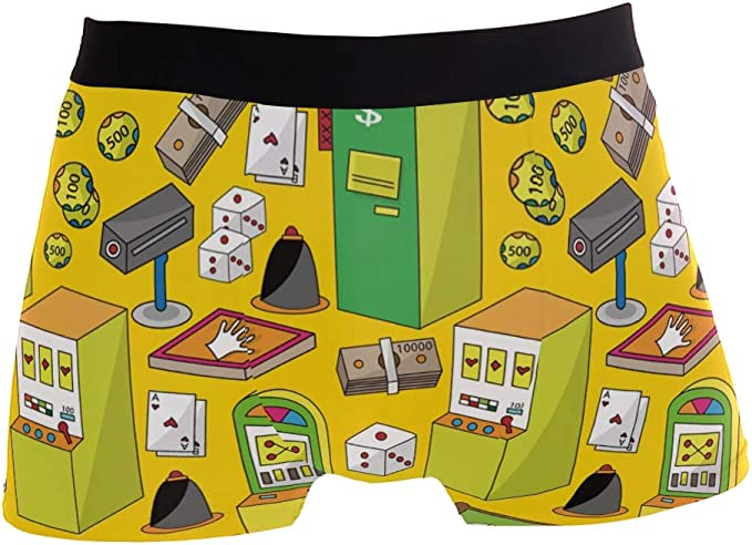 ZZKKO Cartoon Mahjong Pattern Mens Underwear Boxer Briefs Breathable Multi