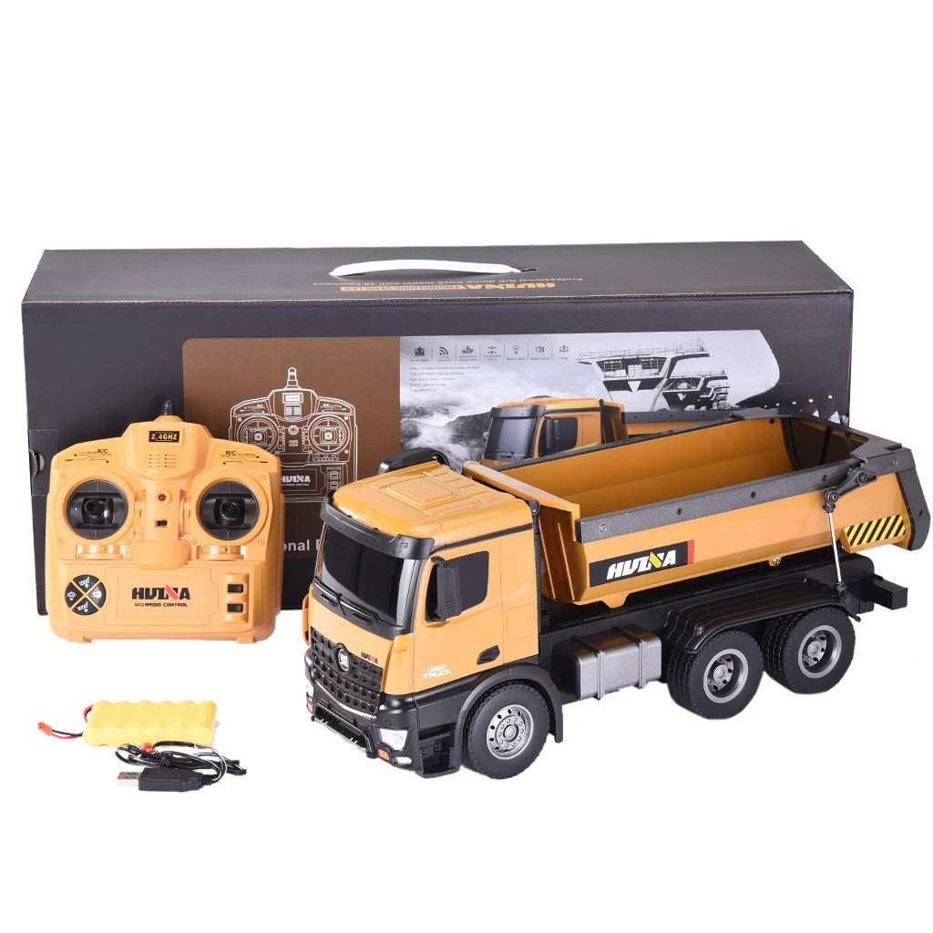 Roisay Construction Vehicle Series - Simulation Toys 1573 1/14 2.4G 10CH Alloy Dump Truck Load Capacity 10kg RC Car RTR Multi-Function Toy American Warehouse Fast Logistics
