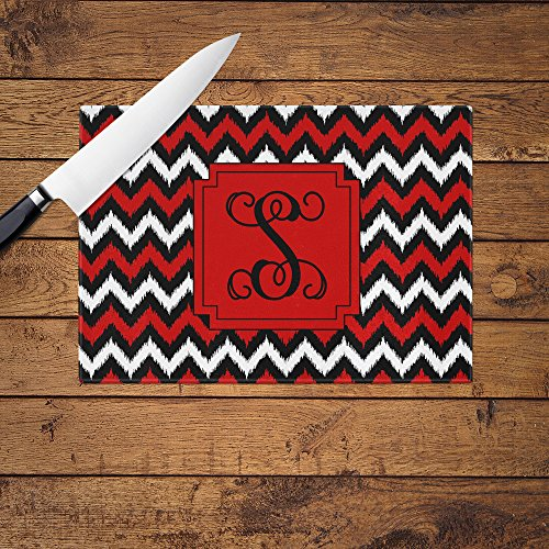Personalized Red and Black Chevron Glass Cutting Board