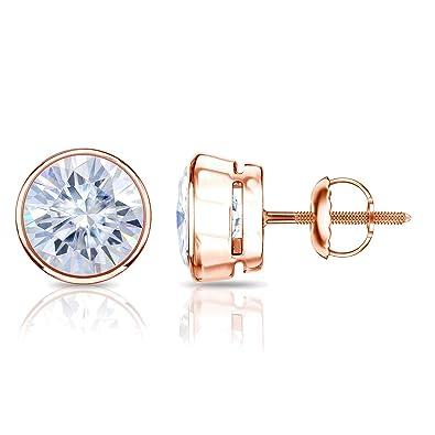 659ec623c Diamond Wish 14k Gold Round Moissanite Stud Earrings (1.00-7.00 TGW, G-H)  Bezel Set with Screw-Back Clasps