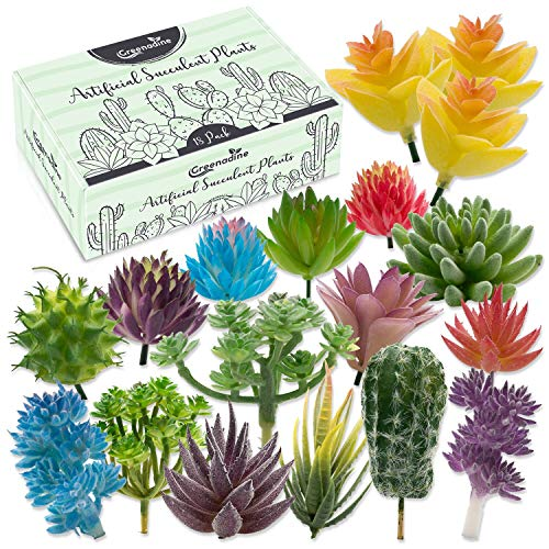 Premium Artificial Succulent Plants - 18 Pack - | Fake Succulent Plants Variety Pack with Small, Medium & Large | Unique Feaux Succulent Plants Potted for Patios & Decor | Artificial Succulents (Pots Plant Price Best)