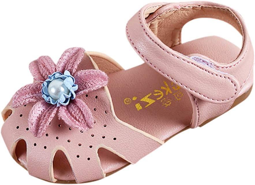 Infant Girls Sandals Outdoor First Walking Shoes Soft Leather Flower Sweet Beach Sneakers Sandals Baby Girls Boys Summer Anti-Slip Wear-Resistant Lightweight Sandals