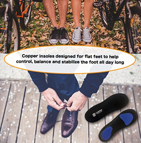 Copper Compression Flat Feet Foot Insoles. GUARANTEED Highest Copper Content Orthotic Shoe Insole/Inserts (Patent Pending). Support For Flat Feet, Heel Spurs, Plantar Fasciitis, Arch Pain (Medium) by Copper Compression (Image #5)