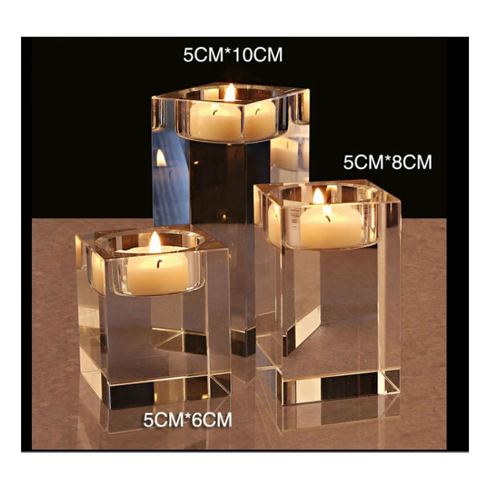 Cosy-YcYCrystal Tealight Candle Holders, K9 Clear Square Tealight Holders For Table, Candelabra Centerpiece Set, Candle Holder Set For Home Deco/Party/Wedding Decorations/Christmas Gift/Housewarming Gift (Hight of 4+6+8cm) Cosy YcY