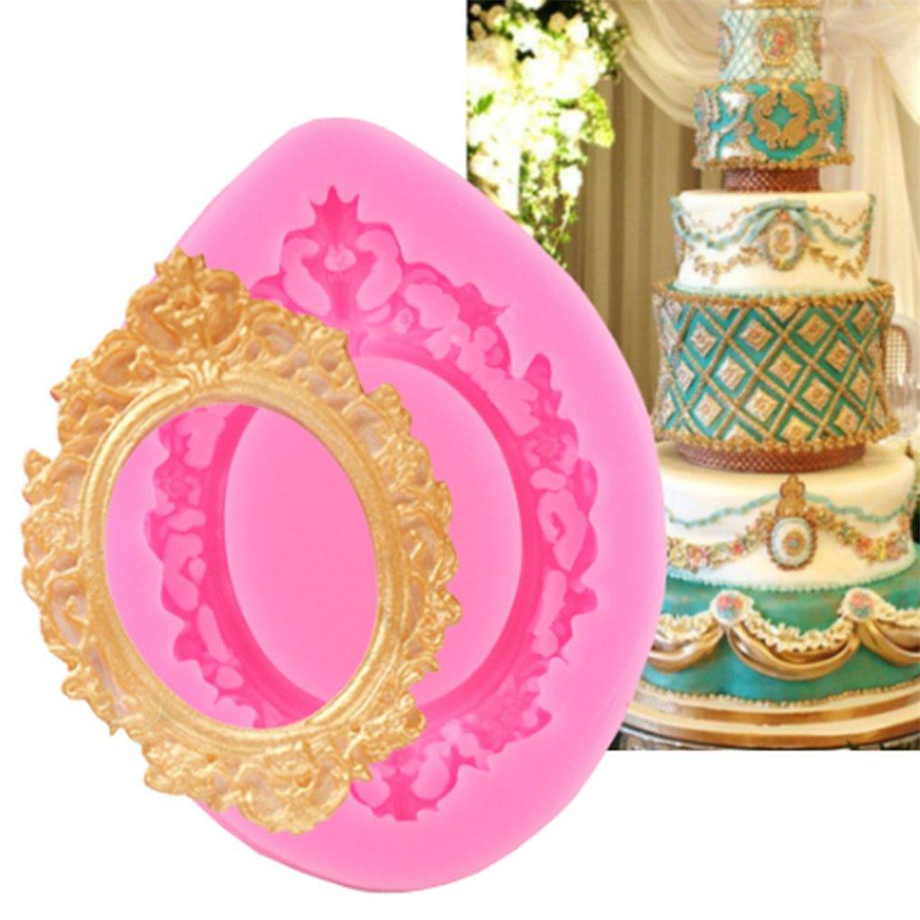 Bigsweety Vintage Photo Frame Fondant Mould Flower Lace Silicone Moulds DIY Sugarcraft Cake Decorating Tools Chocolate Baking Moulds TangRen