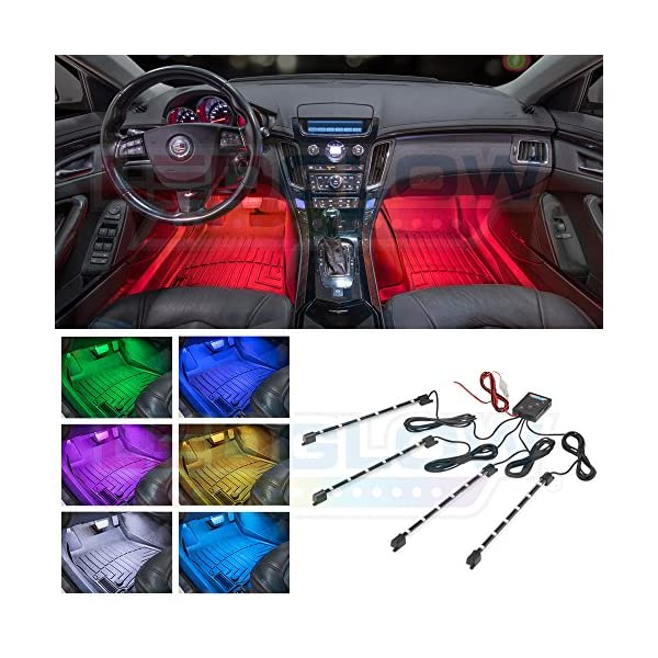 LEDGlow 4pc Multi Color LED Interior Footwell Underdash Neon Light Kit For Cars & Trucks   7 Solid Colors   7 Patterns   Music Mode   Auto Illumination   Universal   Includes Cigarette Power Adapter