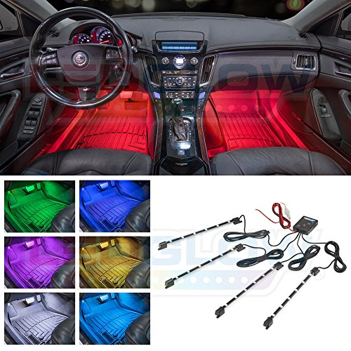 Red Led Interior Lights (LEDGlow 4pc. Multi-Color LED Car Interior Underdash Lighting Kit - Universal Fitment - Music Mode - Auto Illumination Bypass Mode)