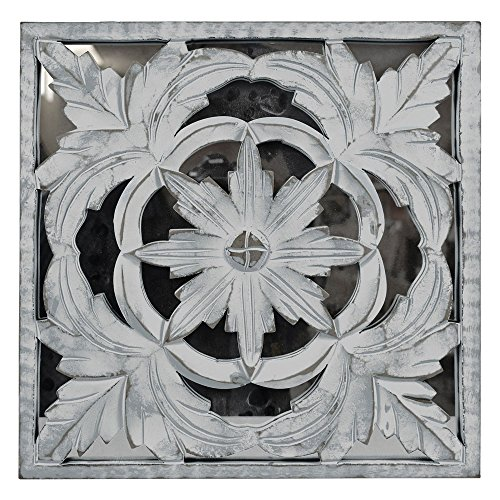Indian Heritage - Wooden Wall Panel MDF Mirror with Carved Panel Design in White Distress by Indian Heritage