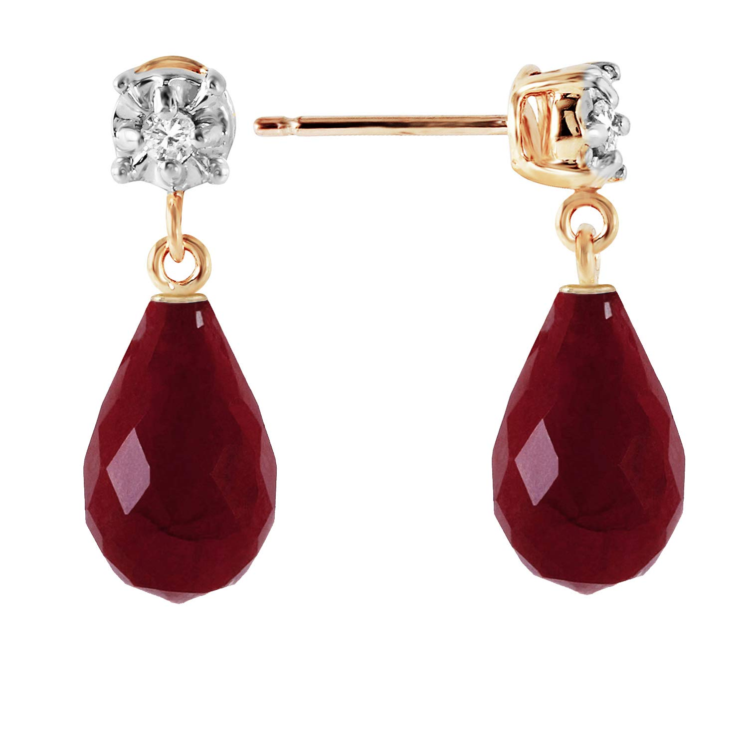 Galaxy Gold 14k Solid Yellow Gold Stud Earrings with Natural Diamonds and Natural Rubies