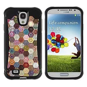 WAWU Funda Carcasa Bumper con Absorci??e Impactos y Anti-Ara??s Espalda Slim Rugged Armor -- quilted hexagonal pattern sewing fabric -- Samsung Galaxy S4 I9500