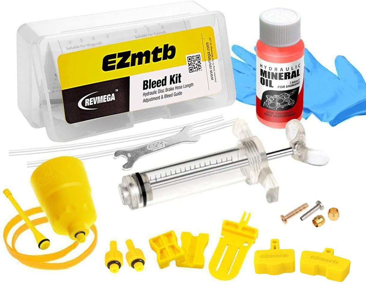 Revmega Bleeder Hydraulic Disc Brake Bleed Kit Tool fit Shimano - Inc. 60ml Mineral Oil Fluid