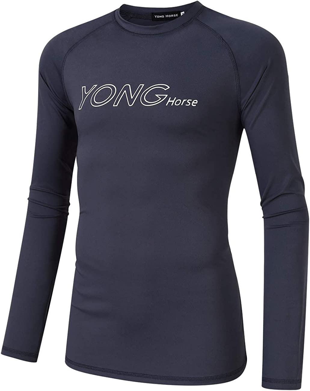 Yong Horse Men's Long Sleeve Swim T-Shirt with Crew Neck,Quick-Dry UPF 50+ Rash Guard,Outdoor Sun Shelter Shirt