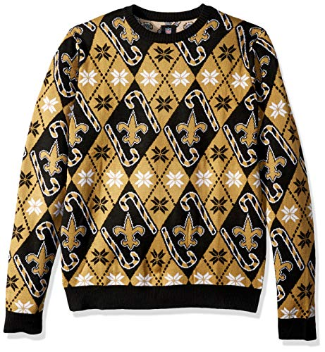 - FOCO NFL New Orleans Saints Mens Candy Cane Repeat Print Crew Neck Holiday SweaterCandy Cane Repeat Print Crew Neck Holiday Sweater, Team Color, Large