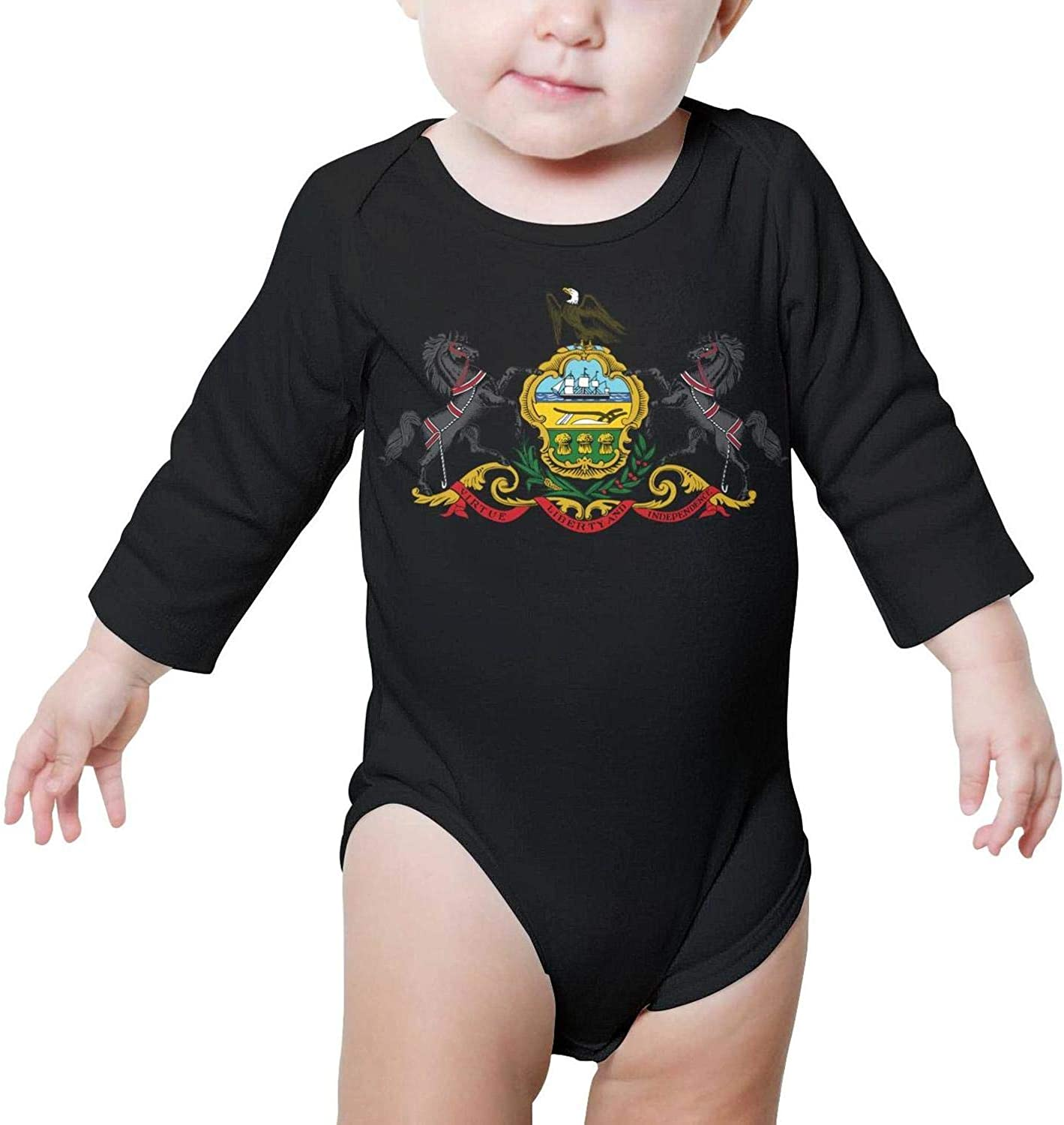 PoPBelle Connecticut American Robin Baby Onesie Outfits Long Sleeve Jumpsuits Cotton Unisex
